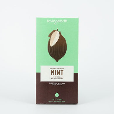 Loving Earth Crunchy Mint Dark Chocolate 72% Raw Cacao 80g