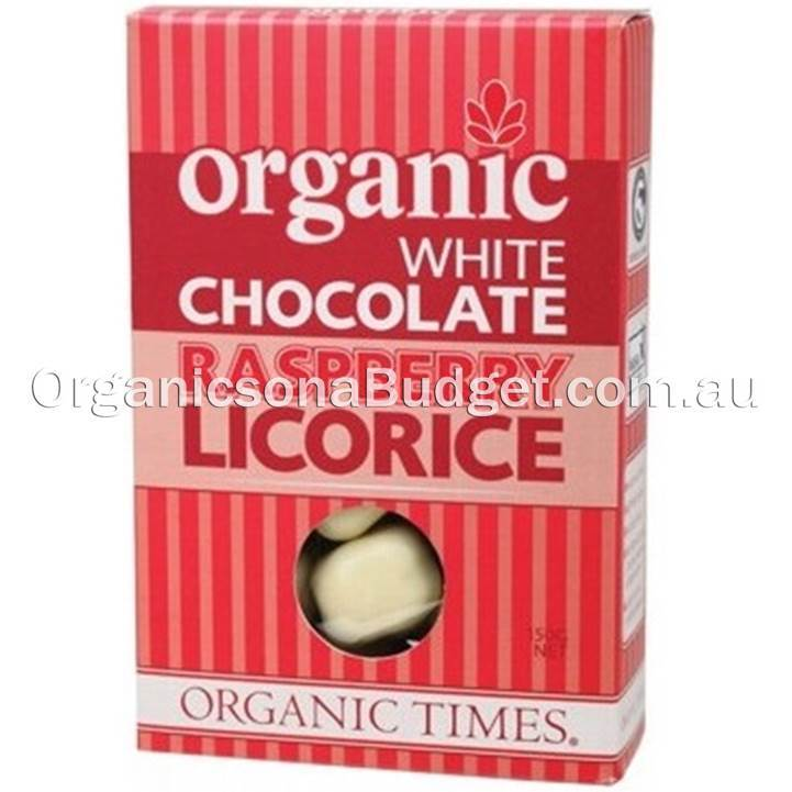 Organic Times White Chocolate Raspberry Licorice 150g