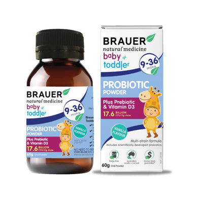 Brauer Baby and Toddler 9 to 36 months Probiotic Vanilla Powder 60g