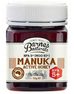 BARNES NATURALS Manuka Active Honey NPA5+ (MGO 83+) - 250g
