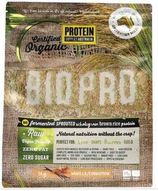 Protein Supplies Australia Bio Pro Sprouted Vanilla Cin Rice Protein Powder 1kg