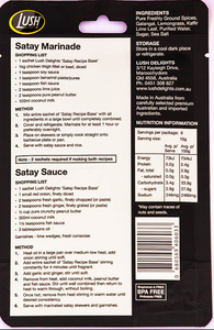 Lush Delights Satay Sauce & Marinade Mild Recipe Base - 60g