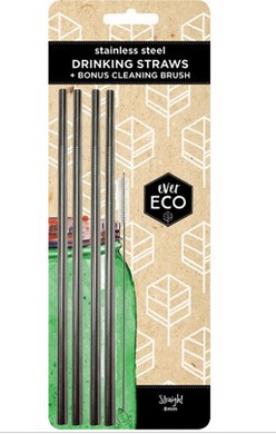 EVER ECO Stainless Steel Straws Straight - 4Pack+Brush