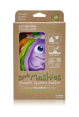 Little Mashies Reuseable Food Pouches 10 Pack mixed colours 130ml