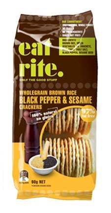 EatRite Wholegrain Brown Rice Tamari Black Pepper & Sesame Crackers 90g CLEARANCE