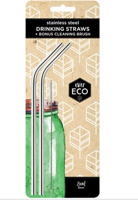 EVER ECO Stainless Steel Straws Bent - 2Pack+Brush