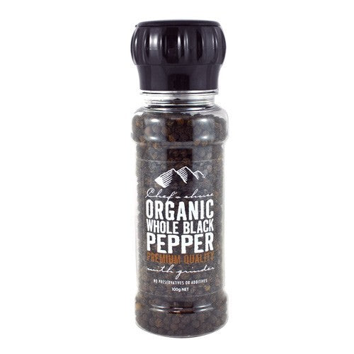 Chef's Choice Organic Whole Black Pepper Grinder 100g