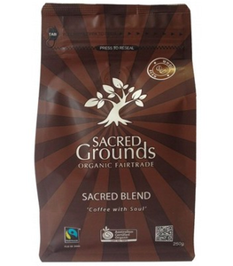 Sacred Grounds Organic Fairtrade Coffee Grounds (Whole Bean) 250g