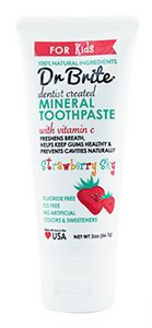 Dr Brite Kid's Natural Mineral Toothpaste with Activated Charcoal - Strawberry 56g (Travel Size)
