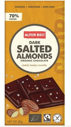 Alter Eco Dark Salted Almond Chocolate 80g