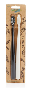 The Natural Family Co. Bio Toothbrush (Twin Pack) Pirate Black & Ivory Desert
