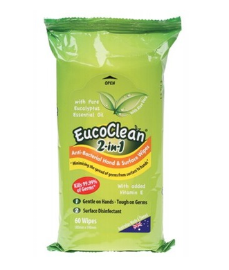 Eucoclean 2-in-1 Anti-Bacterial Hand & Surface Wipes - 60 pack
