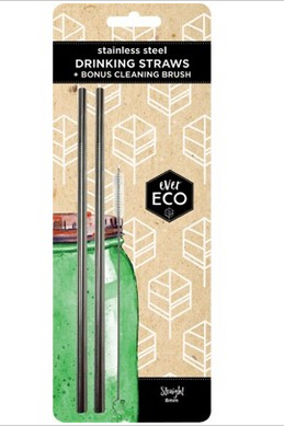 EVER ECO Stainless Steel Straws Straight - 2Pack+Brush