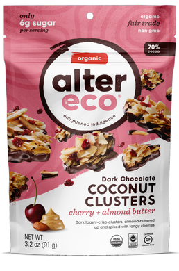 Alter Eco Dark Chocolate Coconut Clusters - Cherry + Almond Butter 91g