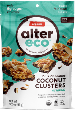 Alter Eco Dark Chocolate Coconut Clusters Original 91g