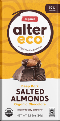 Alter Eco Chocolate Dark Salted Almonds 80g