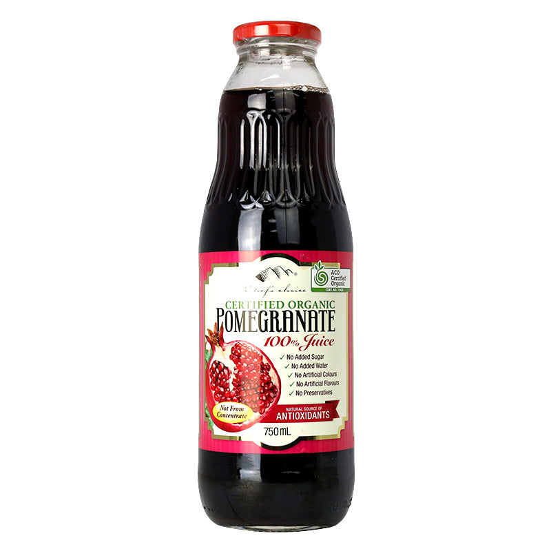 Chef's Choice Certified Organic 100% Pomegranate Juice 750mL max 6 per order