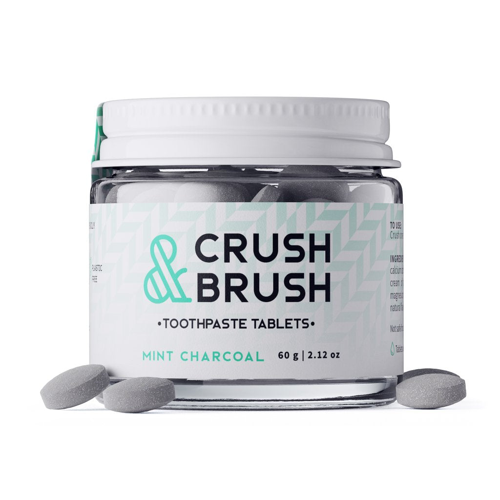 Nelson Naturals Crush & Brush Toothpaste Tablets Mint Charcoal 60g