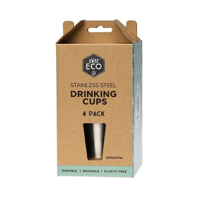 Ever Eco Stainless Steel Drinking Cups - 4 pack 4 x 500ml