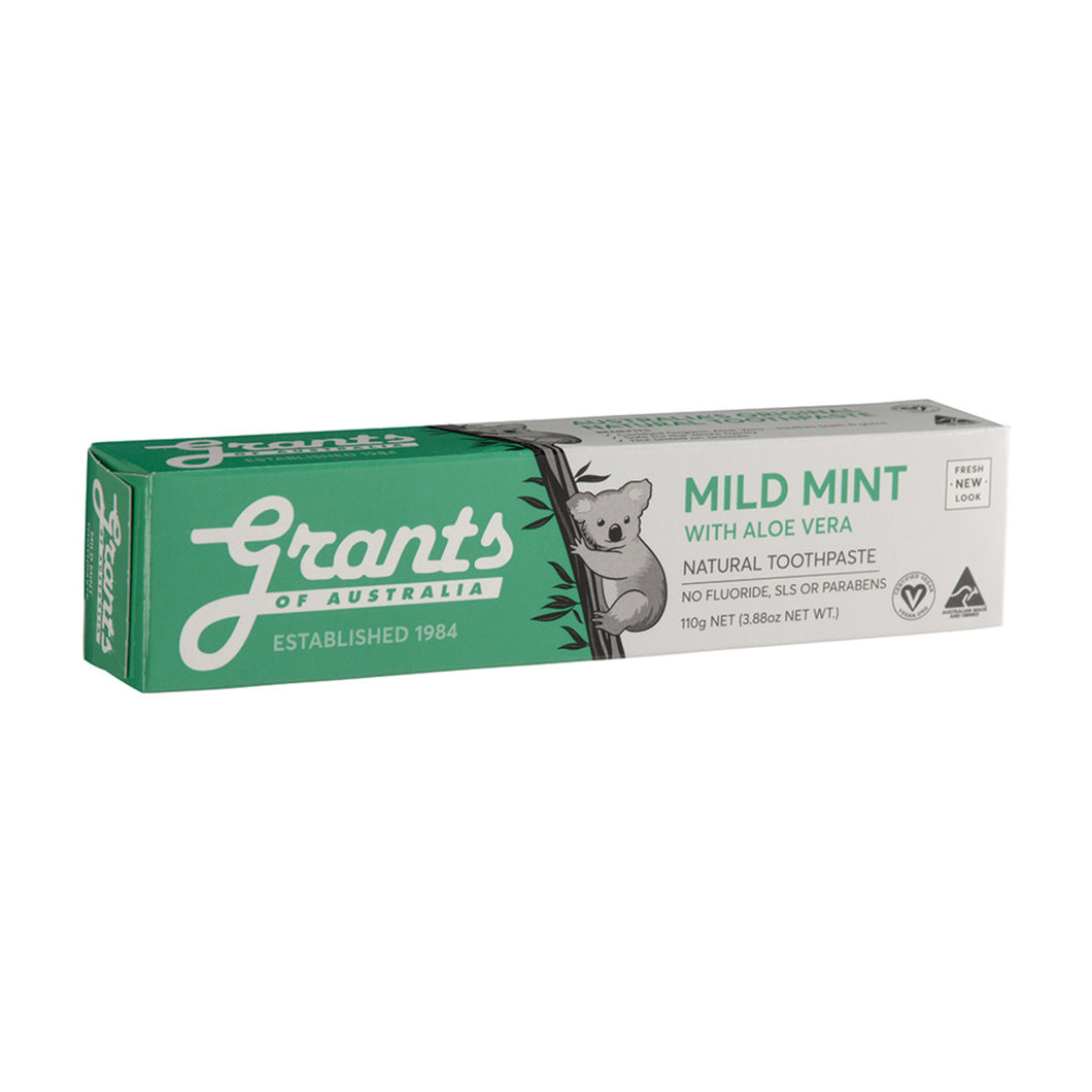 Grants Toothpaste Mild Mint with Certified Organic Aloe Vera 110g