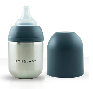 Lion & Lady Stainless Steel Baby Bottle Navy 210ml