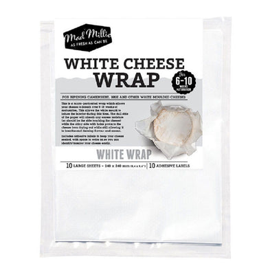 Mad Millie White Cheese Wrap (240x240mm sheets) x 10 Pack