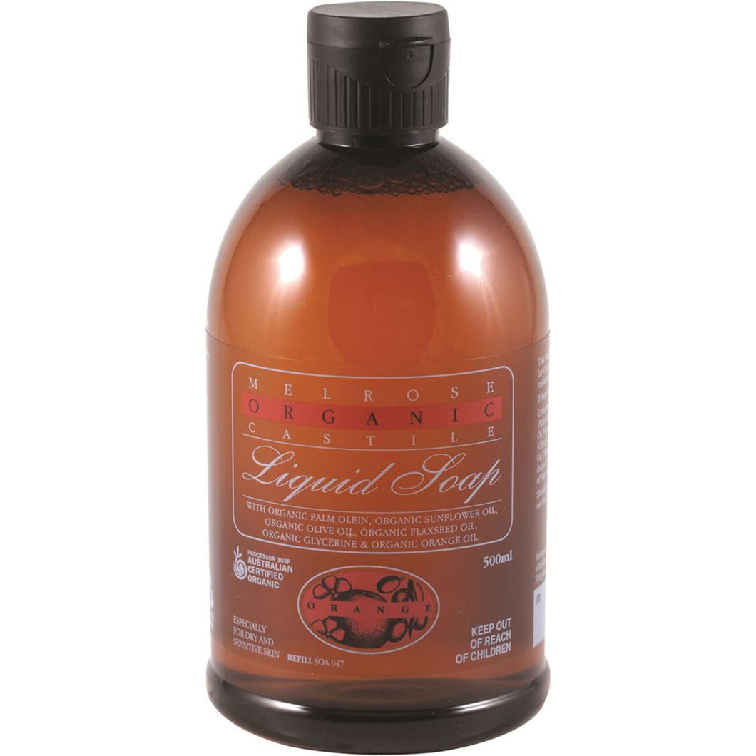 Melrose Organic Castile Liquid Soap Orange Refill 500ml
