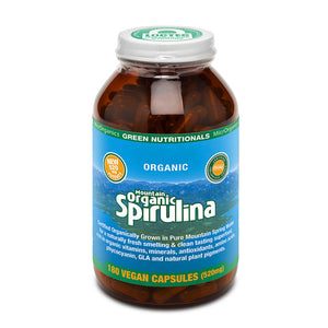 Green Nutritionals Mountain Organic Spirulina Capsules (520mg) - 180 Caps