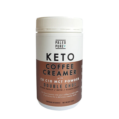 Paleo Pure Keto Coffee Creamer with C8 C10 MCT Powder Double Chocolate 250g