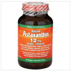 GREEN NUTRITIONALS Natural Astaxanthin Vegan Caps (12mg) Double Strength 60 caps