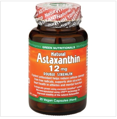 GREEN NUTRITIONALS Natural Astaxanthin Vegan Caps (12mg) Double Strength 20 caps