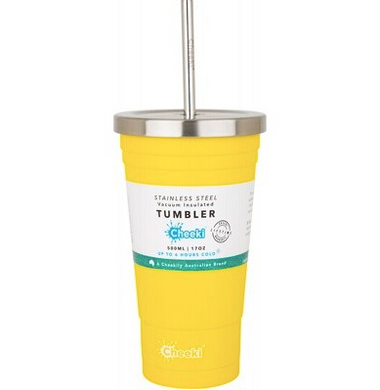 Cheeki Insulated Tumbler - Lemon - With Stainless Steel Straw - 500ml