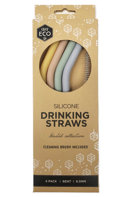 Ever Eco Silicone Straws Bent - 4 Pack + Brush