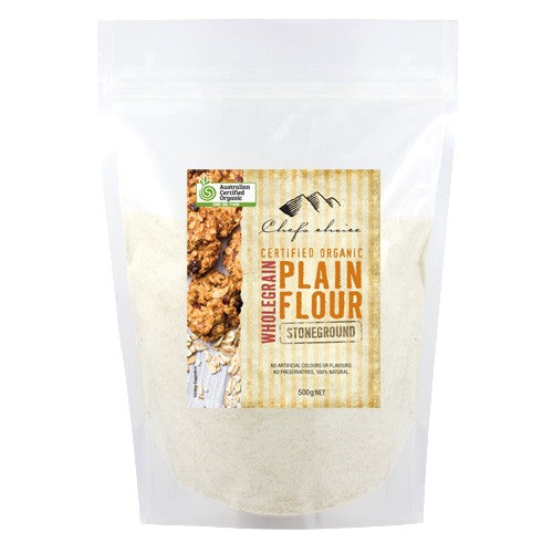 Chef's Choice Organic Stoneground Wholegrain Plain Flour 500g
