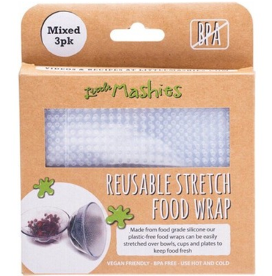 Little Mashies Reusable Stretch Silicone Food Wrap Small, Medium & Large - 3pk