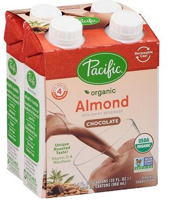 Pacific Foods Organic Almond-Chocolate Drink 4 Pack (240ml each)