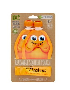 Little Mashies Reuseable Food Pouches Reusable Squeeze Pouch Pack of 2 - Orange 2x130ml