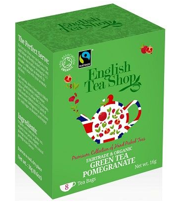 English Tea Shop Organic Green Tea Pomegranate Teabags 8pc