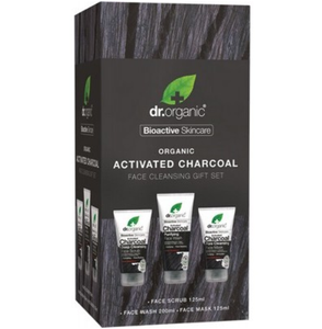 Dr Organic Face Cleansing Gift Set - Activated Charcoal 3 pack