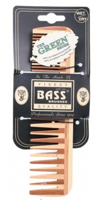 BASS BRUSHES Bamboo Wood Tortoise Comb Large - Wide & Fine Tooth