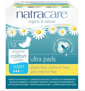 Natracare Super Ultra Wings Pads 12 pack