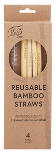 White Magic Reusable Bamboo Straws + Brush 4Pk