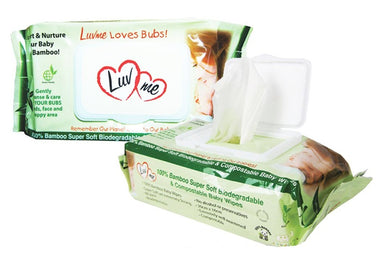 Luv Me Biodegradable Bamboo Eco Wipes 80pack
