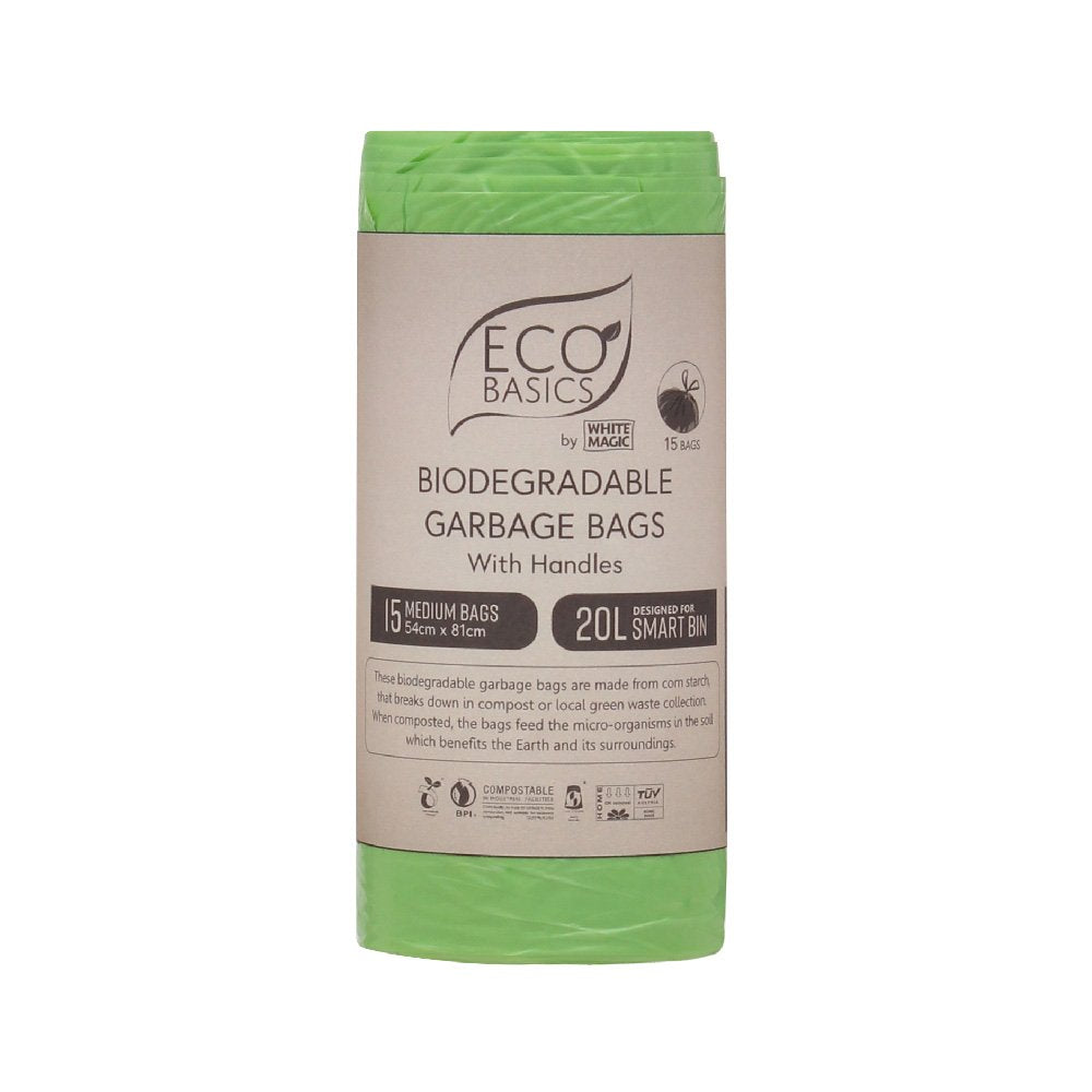 White Magic Eco Basics Bio Garbage Bags Medium 54cm x 81cm 20L
