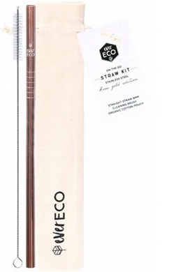 Ever Eco On-The-Go Straight Stainless Steel Straw Kit - Rose Gold