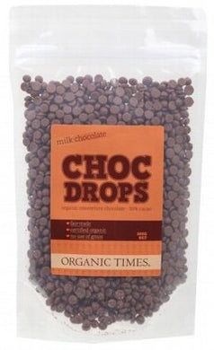 Organic Times Milk Chocolate Couvertre Drops 500g