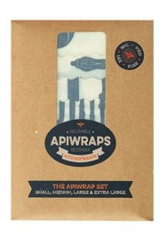 Apiwraps Reusable Beeswax Wraps - Full Set - 1 x Small, Medium, Large & XL