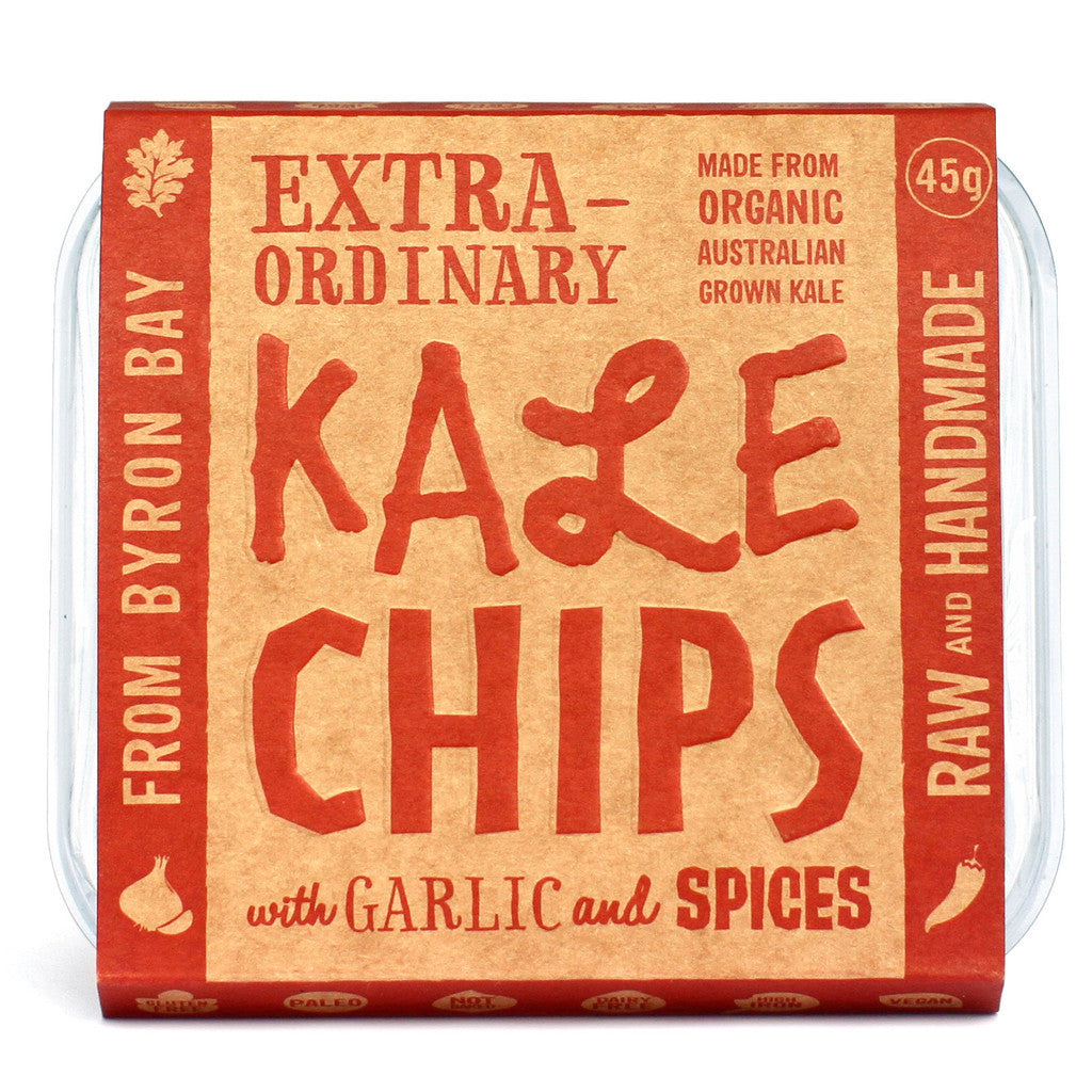 EXTRAORDINARY FOODS Kale Chips with Garlic & Spices - 45g
