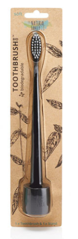 The Natural Family Co. Bio Toothbrush & Stand Soft - Pirate Black