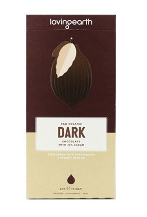 Loving Earth Dark Chocolate 72% Raw Cacao 80g